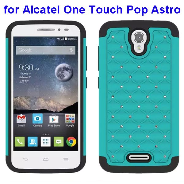 Bling Bling Diamond Studded Silicone and PC Shockproof Hybrid Case for Alcatel One Touch Pop Astro (Cyan)