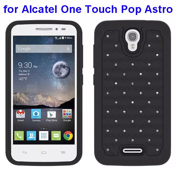 Bling Bling Diamond Studded Silicone and PC Shockproof Hybrid Case for Alcatel One Touch Pop Astro (Gray)