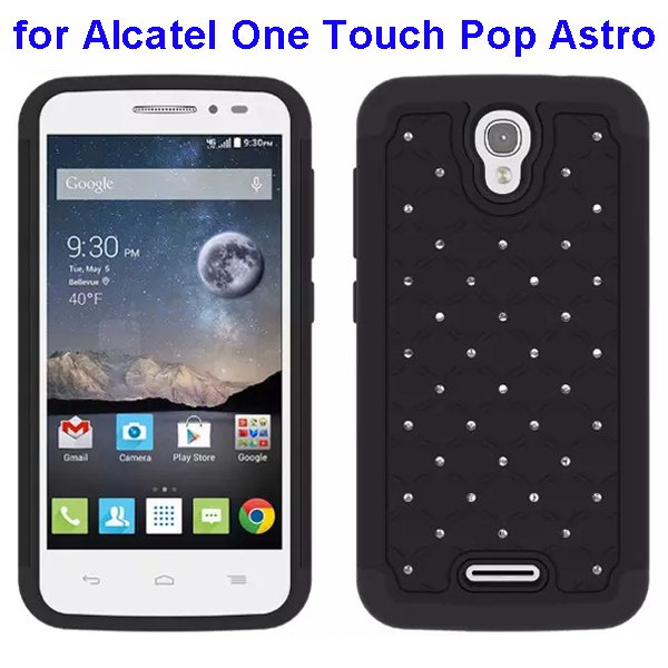 Bling Bling Diamond Studded Silicone and PC Shockproof Hybrid Case for Alcatel One Touch Pop Astro (Black)