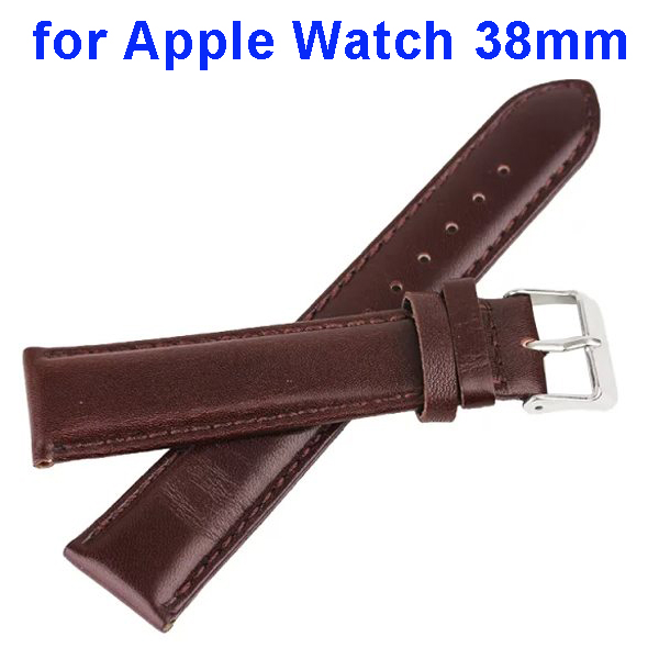 Luxury High Class Genuine Leather Band Strap Wristbands Replacement for Apple Watch 38mm (Brown)