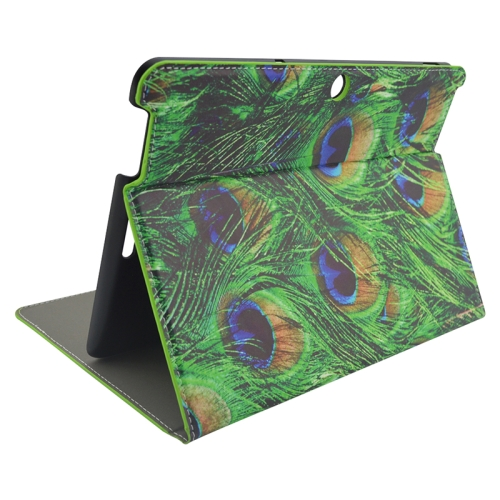 Creative Designs Flip Leather Case for ASUS MeMO Pad 10 ME103K with Holder (Green Peacock Feather Pattern)