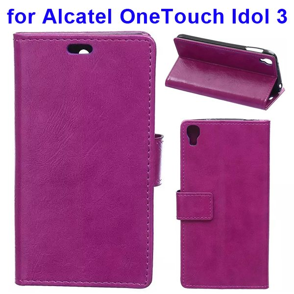 Crazy Horse Texture Flip PU Leather Wallet Case for Alcatel OneTouch Idol 3 5.5 Inch (Purple)