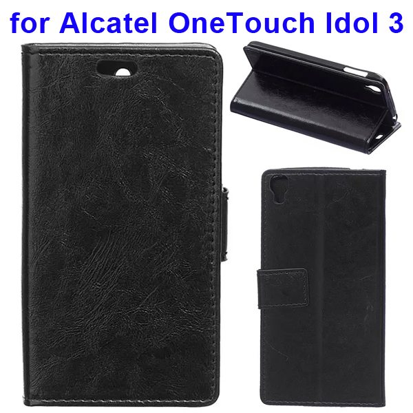Crazy Horse Texture Flip PU Leather Wallet Case for Alcatel OneTouch Idol 3 5.5 Inch (Black)