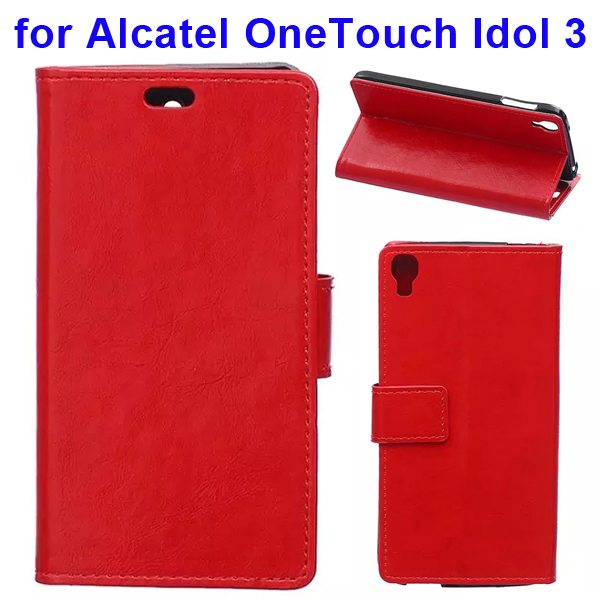 Crazy Horse Texture Flip PU Leather Wallet Case for Alcatel OneTouch Idol 3 5.5 Inch (Red)