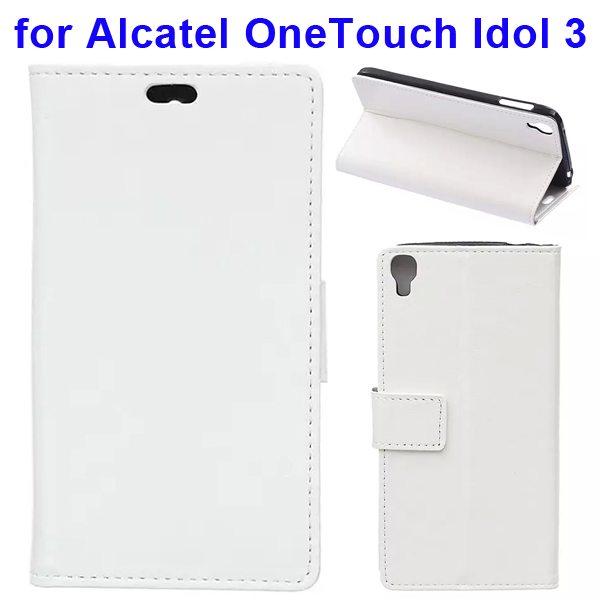 Crazy Horse Texture Flip PU Leather Wallet Case for Alcatel OneTouch Idol 3 5.5 Inch (White)