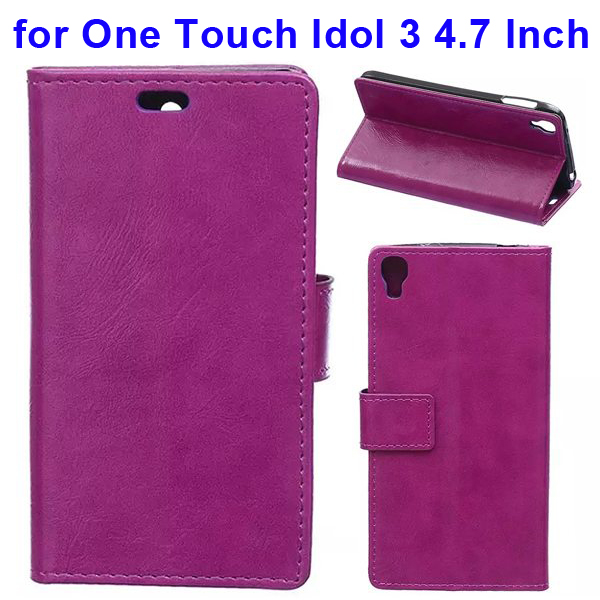 Crazy Horse Texture Flip Leather Wallet Case for Alcatel One Touch Idol 3 4.7 Inch with Card Slots (Purple)
