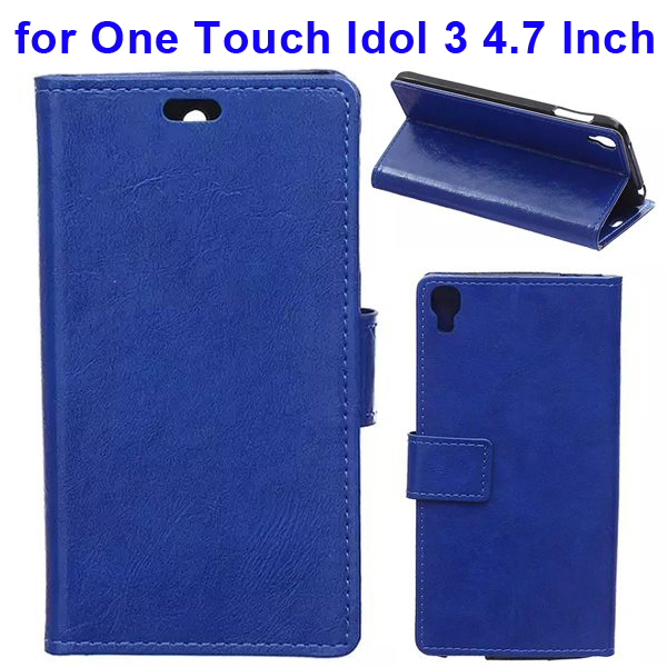 Crazy Horse Texture Flip Leather Wallet Case for Alcatel One Touch Idol 3 4.7 Inch with Card Slots (Blue)