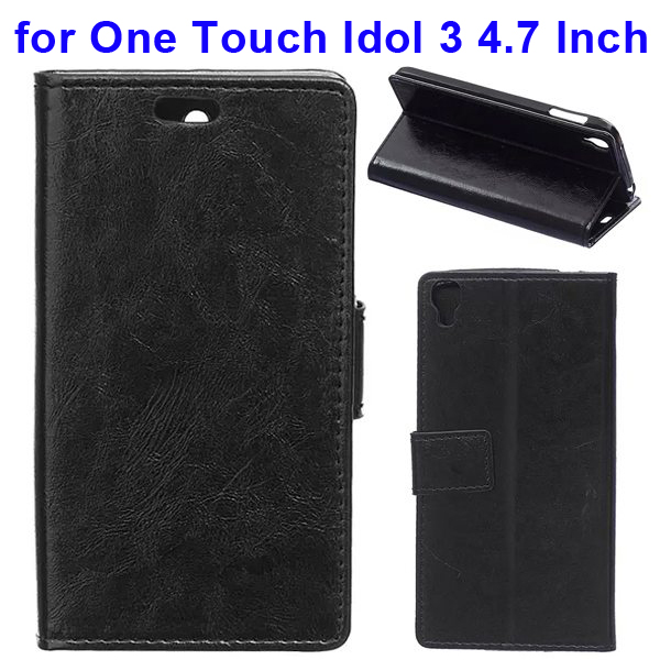 Crazy Horse Texture Flip Leather Wallet Case for Alcatel One Touch Idol 3 4.7 Inch with Card Slots (Black)