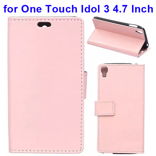 Crazy Horse Texture Flip Leather Wallet Case for Alcatel One Touch Idol 3 4.7 Inch with Card Slots (Pink)