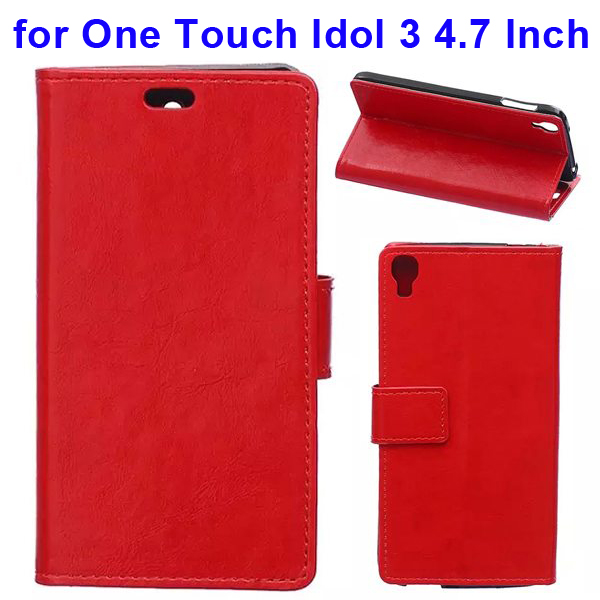 Crazy Horse Texture Flip Leather Wallet Case for Alcatel One Touch Idol 3 4.7 Inch with Card Slots (Red)