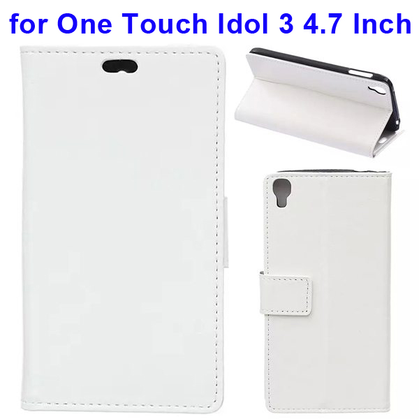 Crazy Horse Texture Flip Leather Wallet Case for Alcatel One Touch Idol 3 4.7 Inch with Card Slots (White)