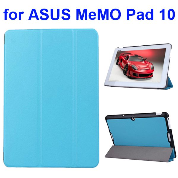 Karst Texture 3 Folding Flip PU Leather Cover Case for ASUS MeMo Pad 10 ME103K (Blue)