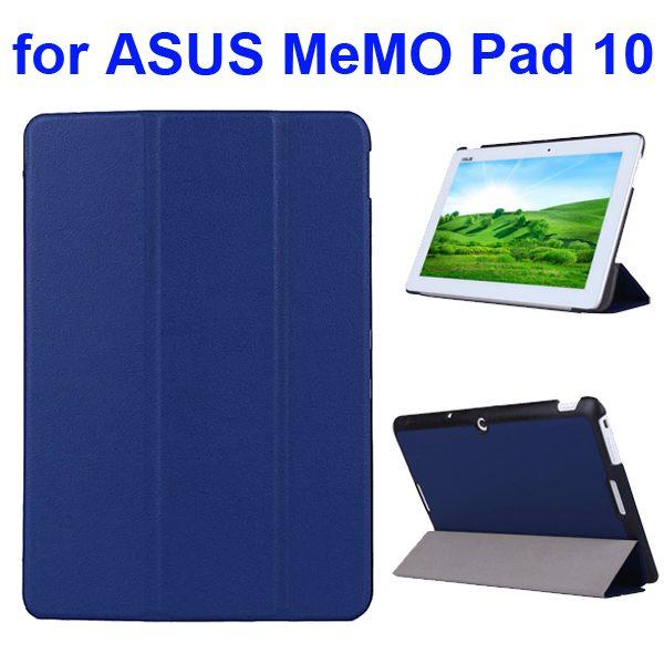 Karst Texture 3 Folding Flip PU Leather Cover Case for ASUS MeMo Pad 10 ME103K (Dark Blue)