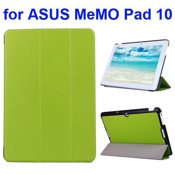 Karst Texture 3 Folding Flip PU Leather Cover Case for ASUS MeMo Pad 10 ME103K (Green)