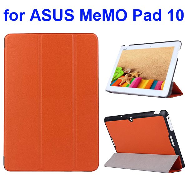 Karst Texture 3 Folding Flip PU Leather Cover Case for ASUS MeMo Pad 10 ME103K (Orange)