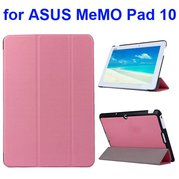 Karst Texture 3 Folding Flip PU Leather Cover Case for ASUS MeMo Pad 10 ME103K (Pink)