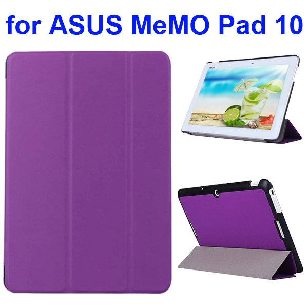 Karst Texture 3 Folding Flip PU Leather Cover Case for ASUS MeMo Pad 10 ME103K (Purple)