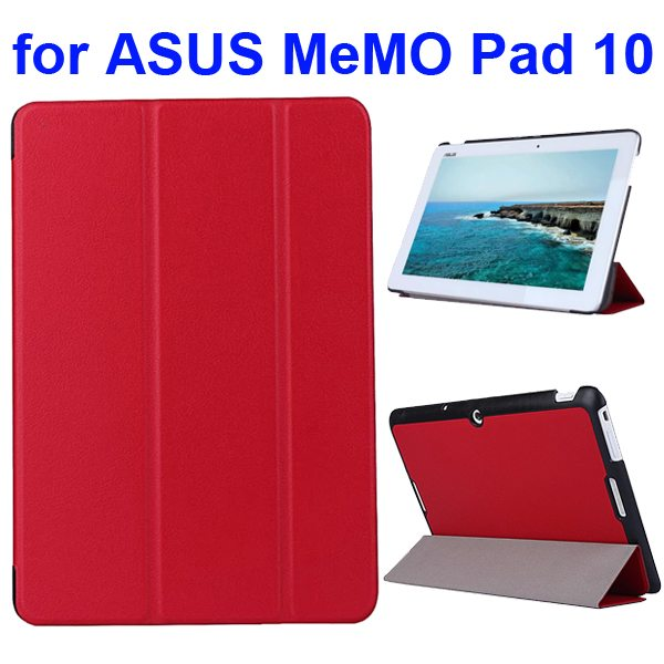 Karst Texture 3 Folding Flip PU Leather Cover Case for ASUS MeMo Pad 10 ME103K (Red)