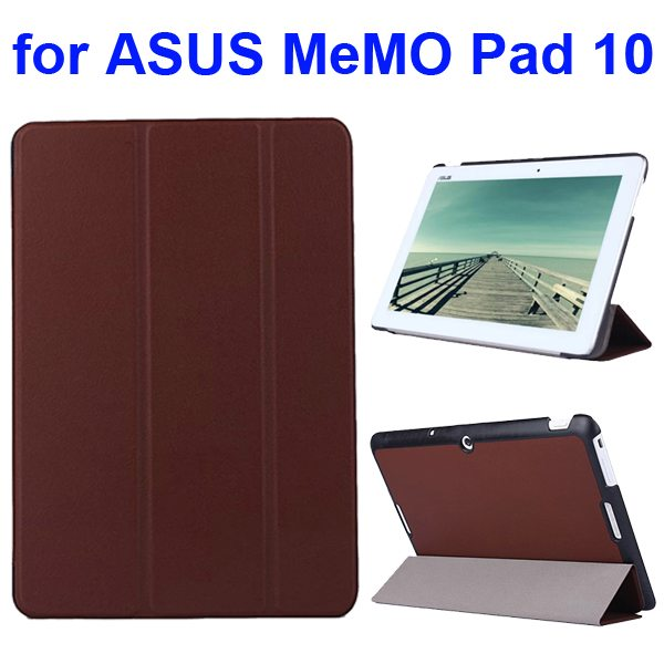 Karst Texture 3 Folding Flip PU Leather Cover Case for ASUS MeMo Pad 10 ME103K (Brown)