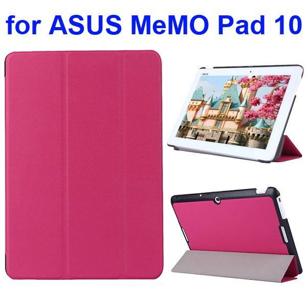Karst Texture 3 Folding Flip PU Leather Cover Case for ASUS MeMo Pad 10 ME103K (Rose)