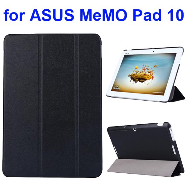 Karst Texture 3 Folding Flip PU Leather Cover Case for ASUS MeMo Pad 10 ME103K (Black)