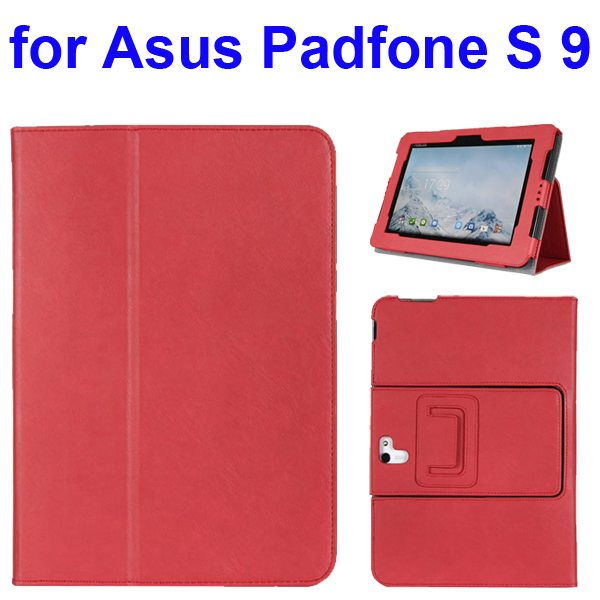 Foldable Flip Stand Leather Cover for Asus PadFone S 9 inch with Armband Belt (Red)