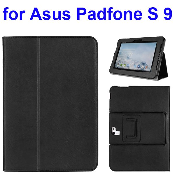 Foldable Flip Stand Leather Cover for Asus PadFone S 9 inch with Armband Belt (Black)