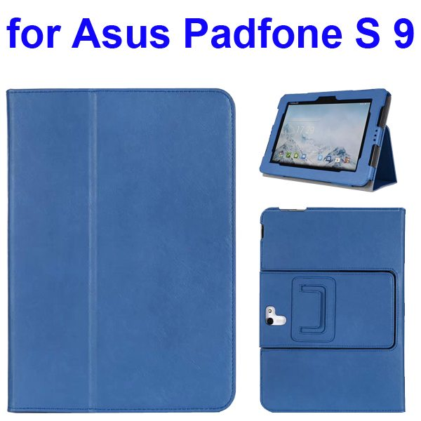 Foldable Flip Stand Leather Cover for Asus PadFone S 9 inch with Armband Belt (Blue)