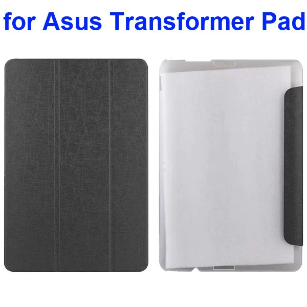 Silk Texture 3-Folding Pattern Flip Leather Case for Asus Transformer Pad TF103C (Grey)