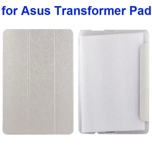 Silk Texture 3-Folding Pattern Flip Leather Case for Asus Transformer Pad TF103C (White)