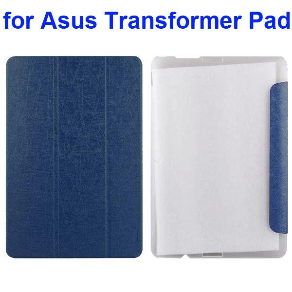 Silk Texture 3-Folding Pattern Flip Leather Case for Asus Transformer Pad TF103C (Dark Blue)