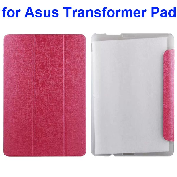 Silk Texture 3-Folding Pattern Flip Leather Case for Asus Transformer Pad TF103C (Pink)
