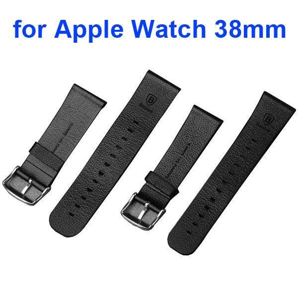 Baseus Luxury Real Leather Wristbands Replacement Wrist Band Strap for Apple Watch 38MM (without Metal Connector)