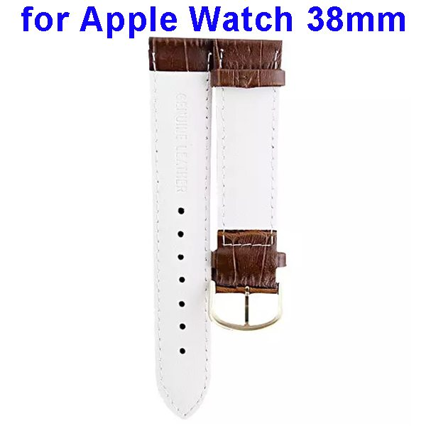 Luxury Style Genuine Leather Wristband Replacement for Apple Watch 38mm (White)