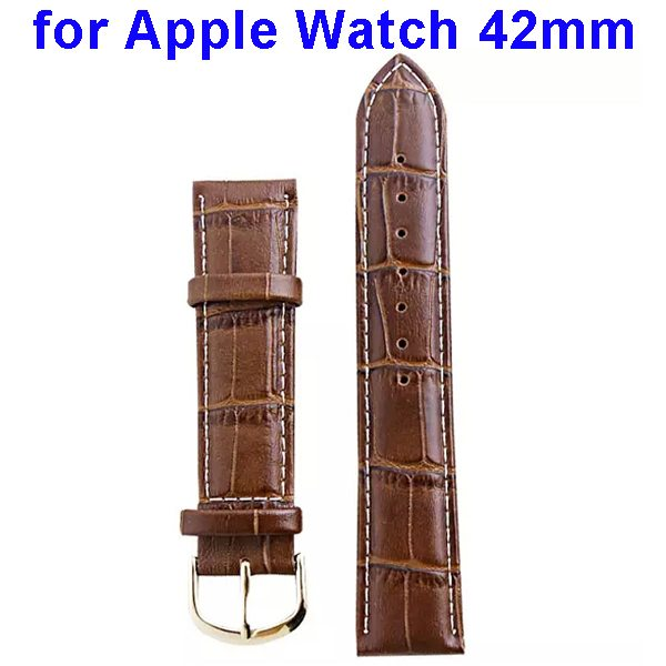 Luxury Style Genuine Leather Wristband Replacement for Apple Watch 42mm (Light Brown)