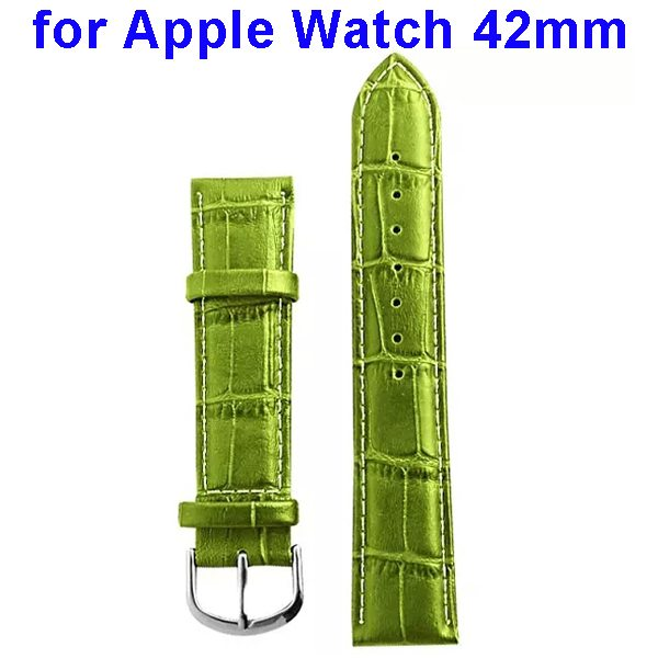 Luxury Style Genuine Leather Wristband Replacement for Apple Watch 42mm (Green)