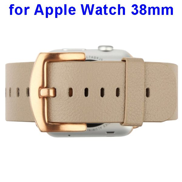 Baseus Genuine Leather Wristband for Apple Watch 38mm with Circle Button & Metal Connector (Brown)