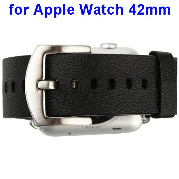 Baseus Genuine Leather Replacement Wristband for Apple Watch 42 mm with Metal Clasp (Black)