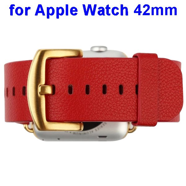 Baseus Genuine Leather Replacement Wristband for Apple Watch 42 mm with Metal Clasp (Red)