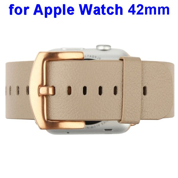 Baseus Genuine Leather Replacement Wristband for Apple Watch 42 mm with Metal Clasp (Beige)