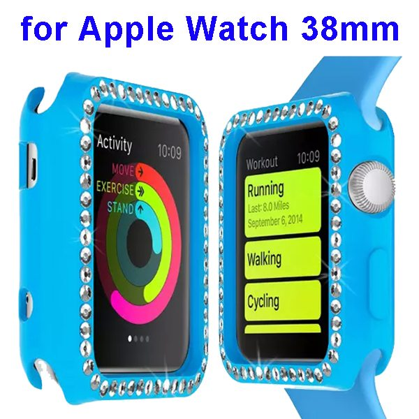 Luxury Diamond Embedded Solid Color Soft TPU Case Cover for Apple Watch 38mm (Baby Blue)