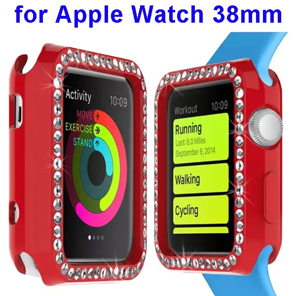 Luxury Diamond Embedded Solid Color Soft TPU Case Cover for Apple Watch 38mm (Red)