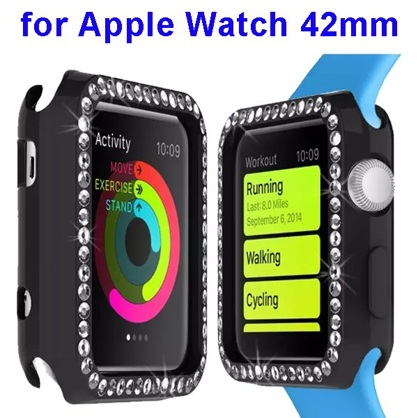 Luxury Diamond Embedded Solid Color Soft TPU Case Cover for Apple Watch 42mm (Black)
