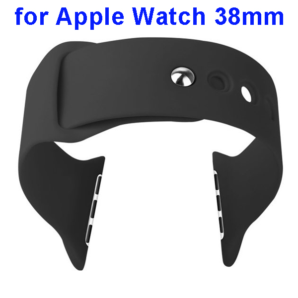Basues Brand Fashionable Design Soft Silicone Wristband for Apple Watch 38mm with Metal Clasp (Black)