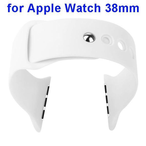 Basues Brand Fashionable Design Soft Silicone Wristband for Apple Watch 38mm with Metal Clasp (White)