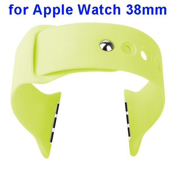Basues Brand Fashionable Design Soft Silicone Wristband for Apple Watch 38mm with Metal Clasp (Green)