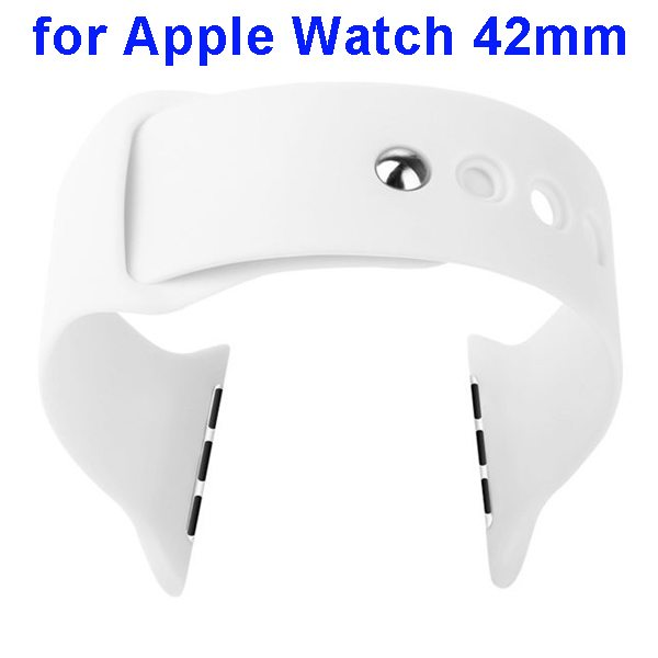Basues Brand Fashionable Design Soft Silicone Wristband for Apple Watch 42mm with Metal Clasp (White)