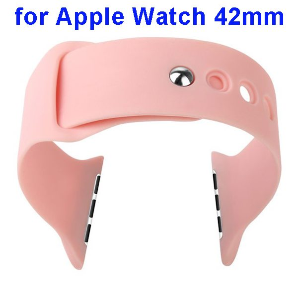 Basues Brand Fashionable Design Soft Silicone Wristband for Apple Watch 42mm with Metal Clasp (Pink)