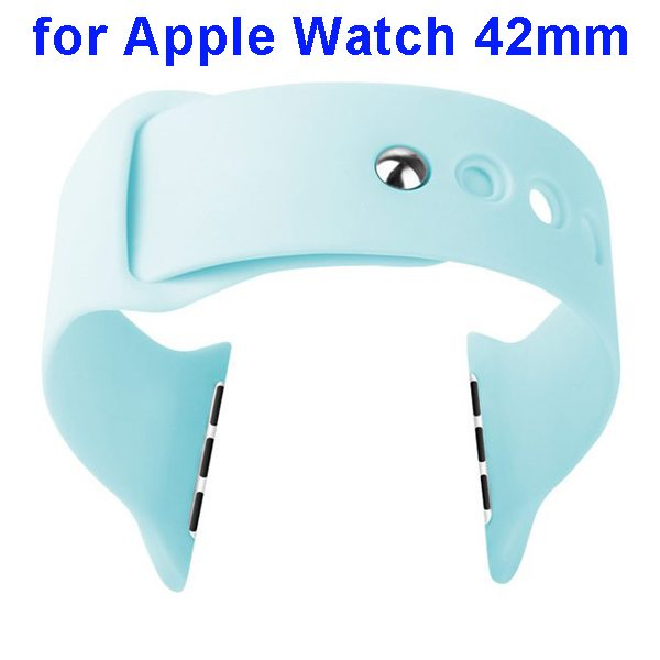 Basues Brand Fashionable Design Soft Silicone Wristband for Apple Watch 42mm with Metal Clasp (Blue)