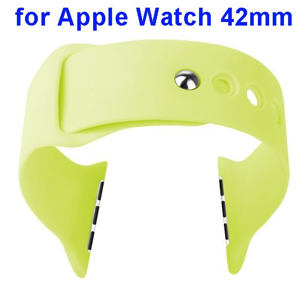 Basues Brand Fashionable Design Soft Silicone Wristband for Apple Watch 42mm with Metal Clasp (Green)